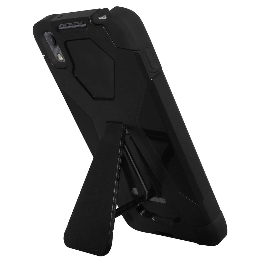 AMZER Dual Layer Hybrid Cover Rugged Shockproof Case With KickStand for Alcatel Idol 4 - Black/ Black