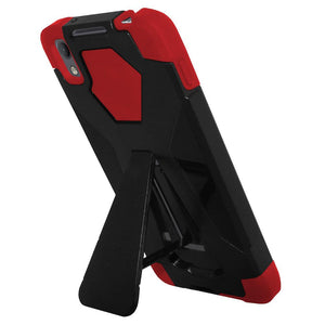 AMZER Dual Layer Hybrid Cover Rugged Shockproof Case With KickStand for Alcatel Idol 4 - Black/ Red
