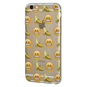Ultra Thin Protective Soft Gel Shockproof TPU Skin Case Grin With Bananas for iPhone 6 Plus - Clear