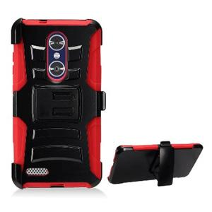 Rugged TUFF Shockproof Cover Hybrid Armor Hard Dual Layer Case With Holster for ZTE ZMax Pro Z981 - Black/Red