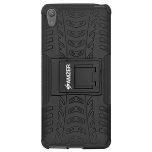 AMZER Hybrid Warrior Dual Layer Case for Sony Xperia E5 - Black/Black