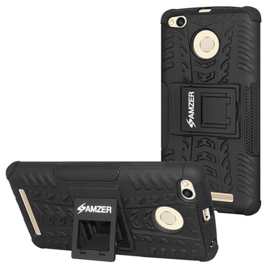 AMZER Hybrid Warrior Dual Layer Case for Xiaomi Redmi 3S Prime - Black/Black