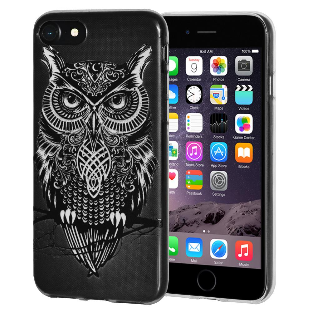 Ultra Thin Protective Cover Soft Gel Shockproof TPU Skin Case Graphic Owl for iPhone 6 - Clear
