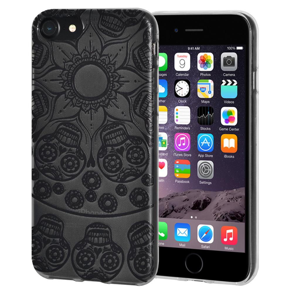 Protective Cover Soft Gel Shockproof TPU Skin Case Mandala Black Tattoo for iPhone 6 - Clear
