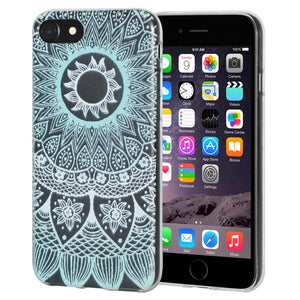 Ultra Thin Protective Cover Soft Gel Shockproof TPU Skin Case Mandala Turquoise for iPhone 6 - Clear