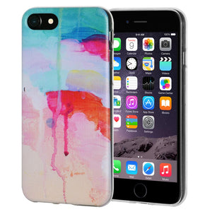 Ultra Thin Cover Soft Gel Shockproof TPU Skin Case Abstract Watercolor Drip for iPhone 6 - Clear