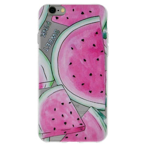 Protective Cover Soft Gel Shockproof TPU Skin Case Big Watermelon Print for iPhone 6 - Clear