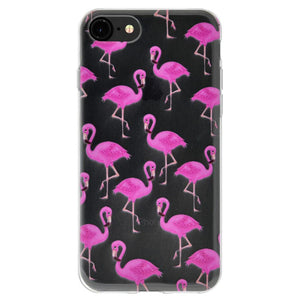 Ultra Thin Protective Cover Soft Gel Shockproof TPU Case Modern Flamingo Print for iPhone 6 - Clear