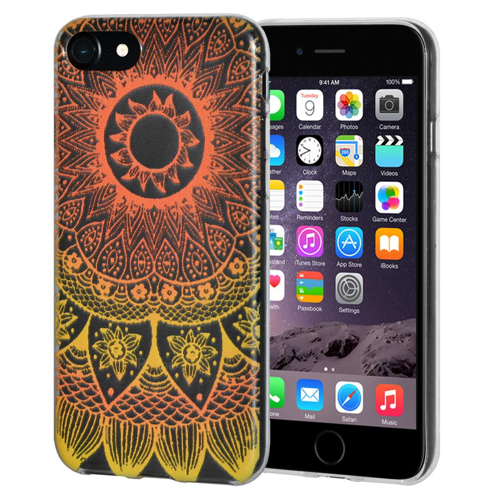 Protective Cover Soft Gel Shockproof TPU Skin Case Mandala Sunset for iPhone 6 Plus - Clear