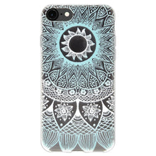 Load image into Gallery viewer, Protective Cover Soft Gel Shockproof TPU Skin Case Mandala Turquoise for iPhone 6 Plus - Clear