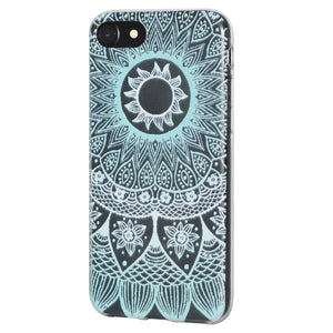 Protective Cover Soft Gel Shockproof TPU Skin Case Mandala Turquoise for iPhone 6 Plus - Clear