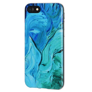 Protective Cover Soft Shockproof TPU Skin Case Abstract Blue Brushstroke for iPhone 6 Plus - Clear