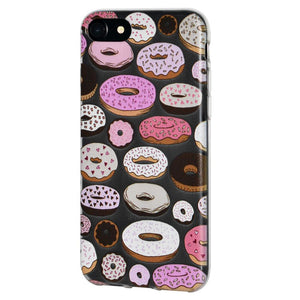 Ultra Thin Protective Cover Soft Gel Shockproof TPU Skin Case Donut Print for iPhone 6 Plus - Clear