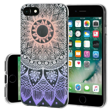 Ultra Thin Protective Cover Soft Gel Shockproof TPU Skin Case Mandala Ombre for iPhone 7 - Clear