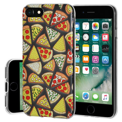 Ultra Thin Protective Cover Soft Gel Shockproof TPU Skin Case Pizza Print for iPhone 7, iPhone SE 2020 - Clear