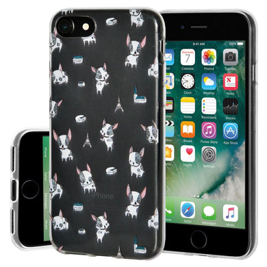 Ultra Thin Protective Cover Soft Gel Shockproof TPU Skin Case Puppy Print for iPhone 7 - Clear