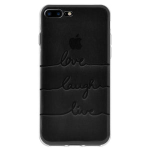 Protective Cover Soft Gel Shockproof TPU Skin Case Love Laugh Live for iPhone 7 Plus - Clear
