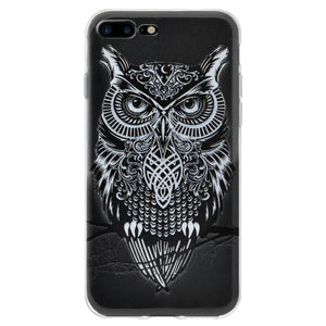 Ultra Thin Cover Soft Gel TPU Skin Case Graphic Owl for iPhone 7+ 8+ Plus