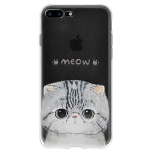 Ultra Thin Protective Cover Soft Gel Shockproof TPU Skin Case Kitten Meow for iPhone 7 Plus - Clear