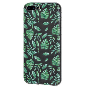 Protective Cover Soft Gel Shockproof TPU Skin Case Woodland Fern for iPhone 7 Plus - Clear
