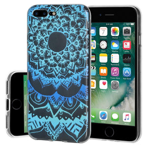 Ultra Thin TPU Skin Case Mandala Sunset for iPhone Plus 7+ 8+ plus  - Clear
