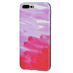 Ultra Thin Protective Cover Soft Shockproof TPU Skin Case Abstract Pink for iPhone 7 Plus - Clear