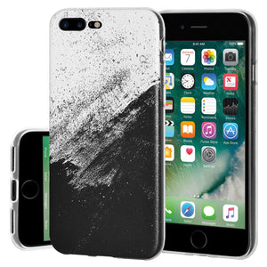 Protective Cover Soft Shockproof TPU Skin Case Abstract Black And White for iPhone 7 Plus - Clear