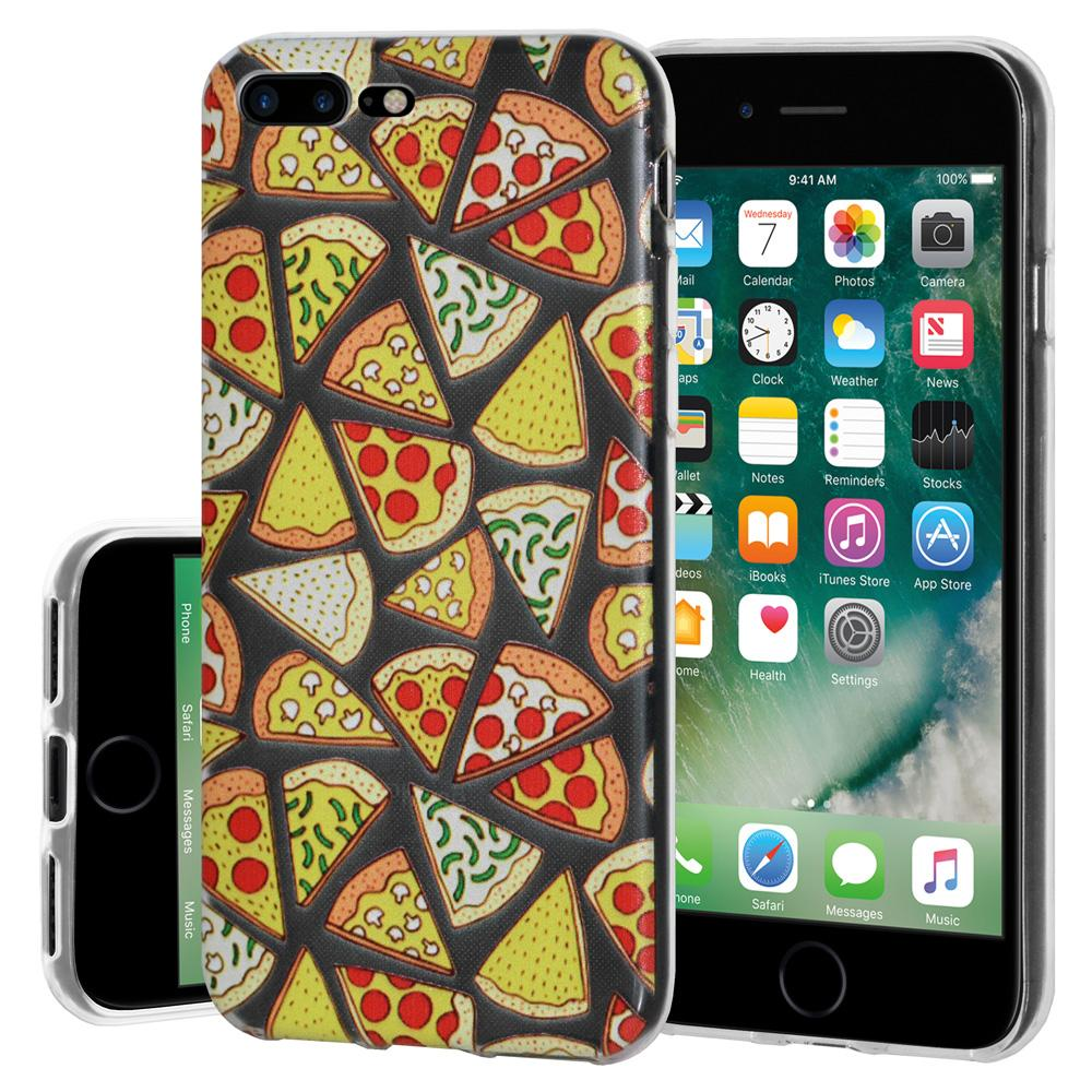 Ultra Thin Protective Cover Soft Gel Shockproof TPU Skin Case Pizza Print for iPhone 7 Plus - Clear
