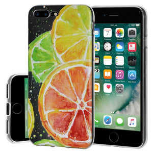 Ultra Thin Protective Cover Soft Gel Shockproof TPU Skin Case Citrus Print for iPhone 7 Plus - Clear