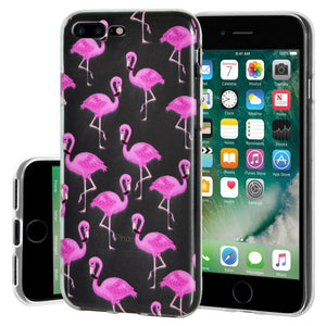 Ultra Thin Protective Cover Soft Shockproof TPU Skin Case Flamingo Print for iPhone 7 Plus - Clear