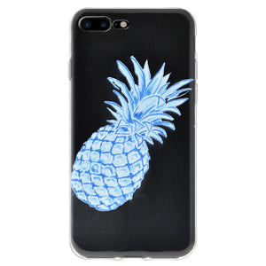Ultra Thin Protective Cover Soft Shockproof TPU Skin Case Blue Pineapple for iPhone 7 Plus - Clear