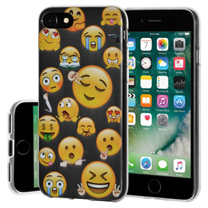 Ultra Thin Protective Cover Soft Gel Shockproof TPU Skin Case Mixed Emotions 2 for iPhone 7, iPhone SE 2020 - Clear