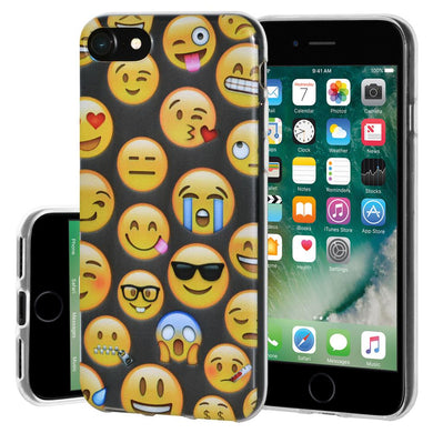Ultra Thin Protective Cover Soft Gel Shockproof TPU Skin Case Mixed Emotions for iPhone 7, iPhone SE 2020 - Clear