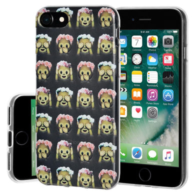 Protective Cover Soft Gel Shockproof TPU Skin Case Speak Hear No Evil Monkeys for iPhone 7, iPhone SE 2020 - Clear