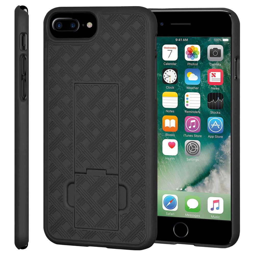 AMZER Snap On Hard Case Shockproof Cover With Kickstand for iPhone 7 Plus - Black