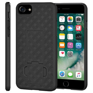 AMZER Snap On Hard Case Shockproof Cover With Kickstand for iPhone 7, iPhone SE 2020 - Black