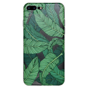 Ultra Thin Protective Cover Soft Shockproof TPU Skin Case Tropical Leaf for iPhone 7 Plus - Clear