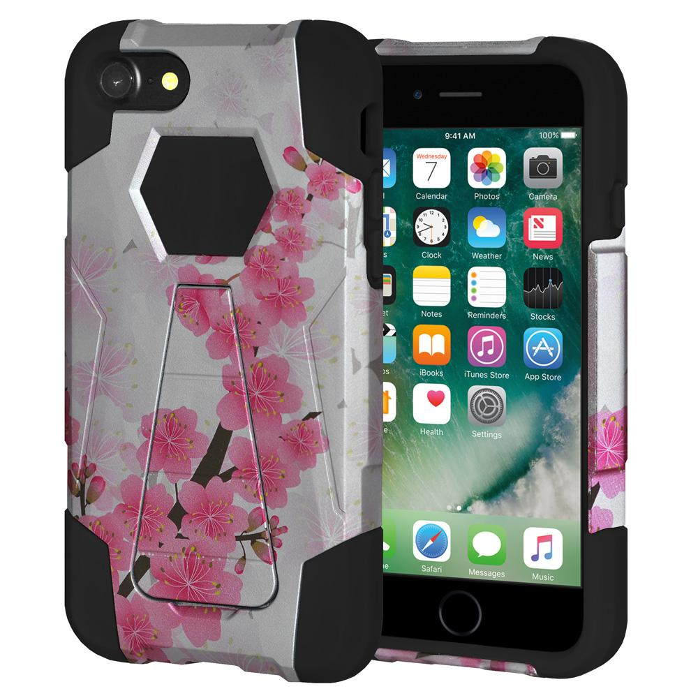 AMZER Dual Layer Designer Hybrid Case With Kickstand for iPhone 7, iPhone SE 2020 - Cherry Blossom Exotic Floral