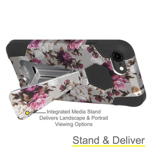 AMZER Dual Layer Designer Hybrid Case With Kickstand  for iPhone 7, iPhone SE 2020 - Romantic Pink White Roses
