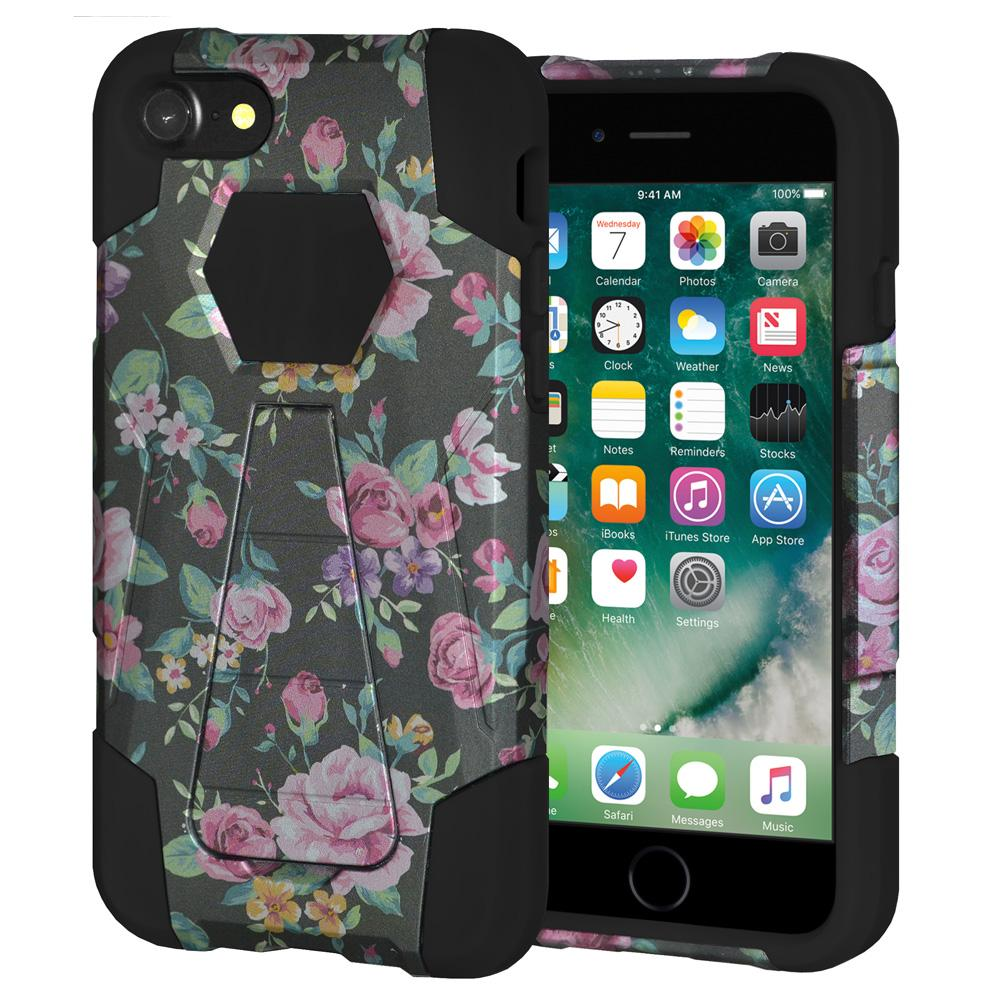 AMZER Dual Layer Designer Hybrid Case with Kickstand for iPhone 7, iPhone SE 2020 - Romantic Colorful Roses Floral