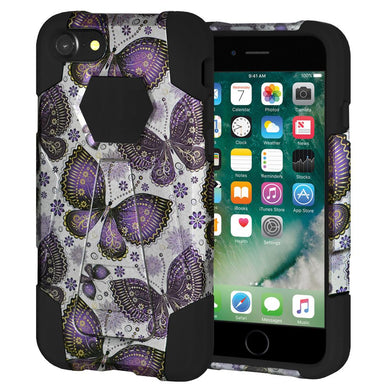 AMZER Dual Layer Designer Hybrid Case with Kickstand for iPhone 7, iPhone SE 2020 - Gold Violet Butterfly Flower
