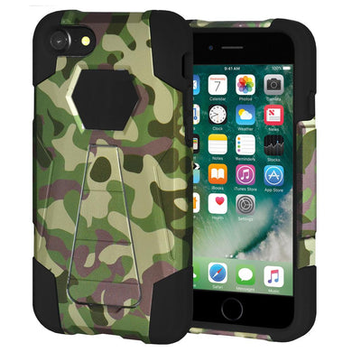 AMZER Dual Layer Shockproof Designer Hybrid KickStand Case for iPhone 7, iPhone SE 2020 - Camouflage Green