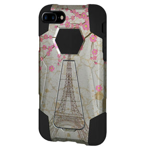 AMZER Dual Layer Designer Hybrid Case With Kickstand for iPhone 7 Plus - Vintage Eiffel Tower Paris