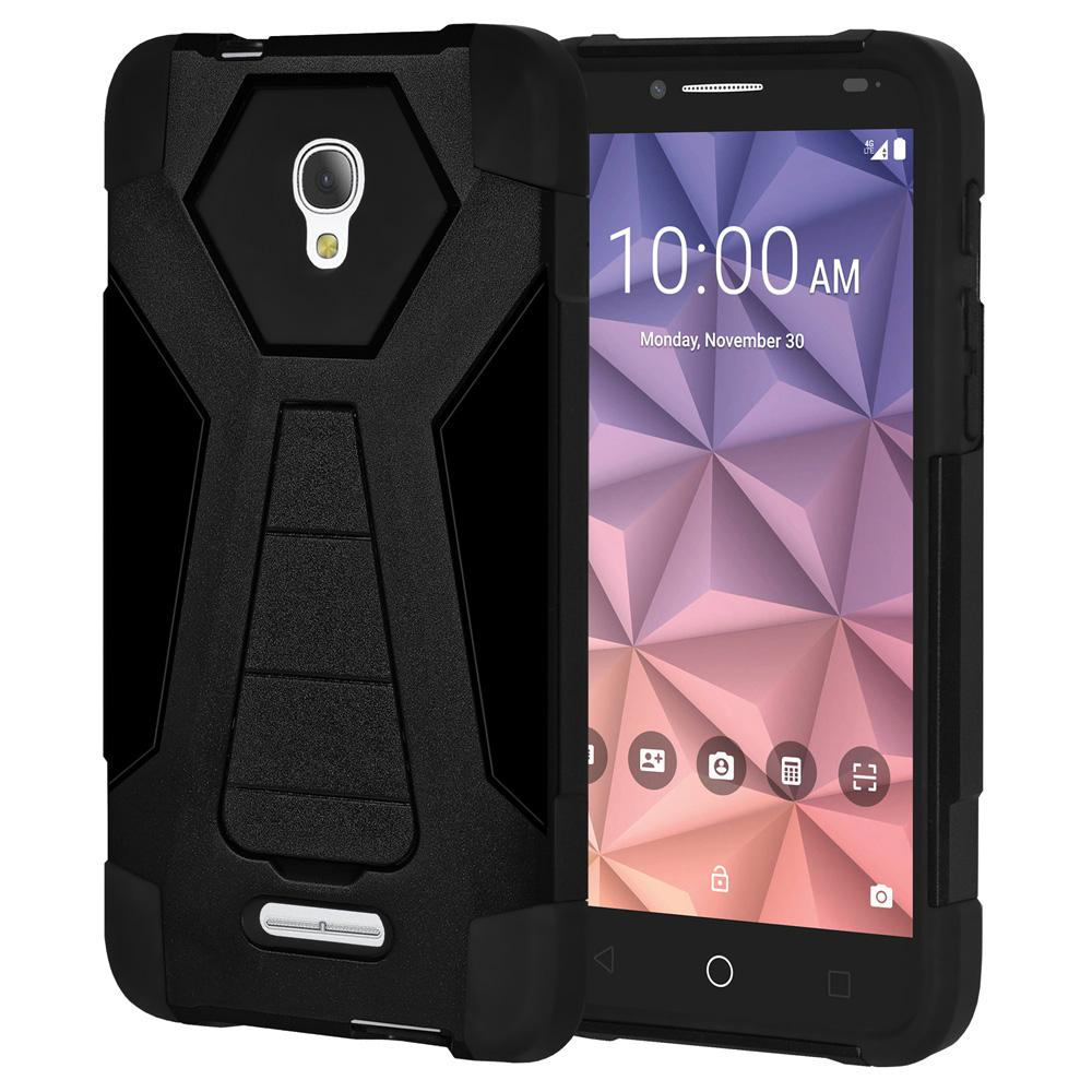 AMZER Dual Layer Shockproof Cover Hybrid KickStand Case for Alcatel Fierce 4 - Black/ Black
