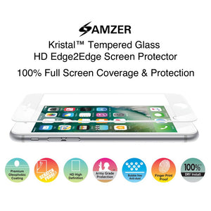AMZER Kristal Anti Fingerprint Tempered Glass HD Edge2Edge Screen Protector for iPhone 7 -  White