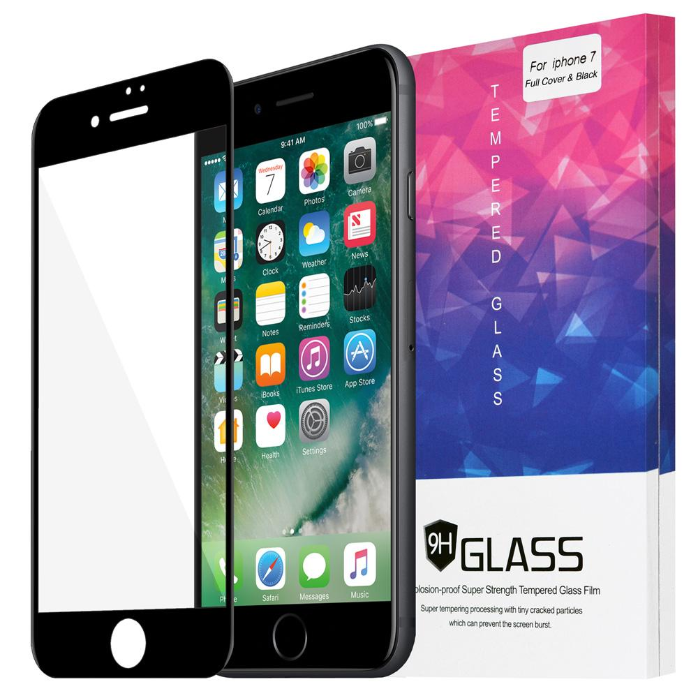AMZER Kristal Anti Fingerprint, Tempered Glass HD Edge2Edge Screen Protector for iPhone 7, iPhone SE 2020 - Black