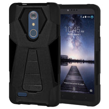Load image into Gallery viewer, AMZER Dual Layer Shockproof Cover Hybrid KickStand Case for ZTE ZMax Pro Z981 - Black/ Black