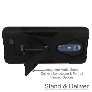 AMZER Dual Layer Shockproof Cover Hybrid KickStand Case for ZTE ZMax Pro Z981 - Black/ Black
