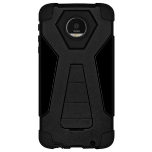 AMZER Dual Layer Shockproof Hybrid KickStand Case for Motorola Moto Z Force DROID Edition - Black