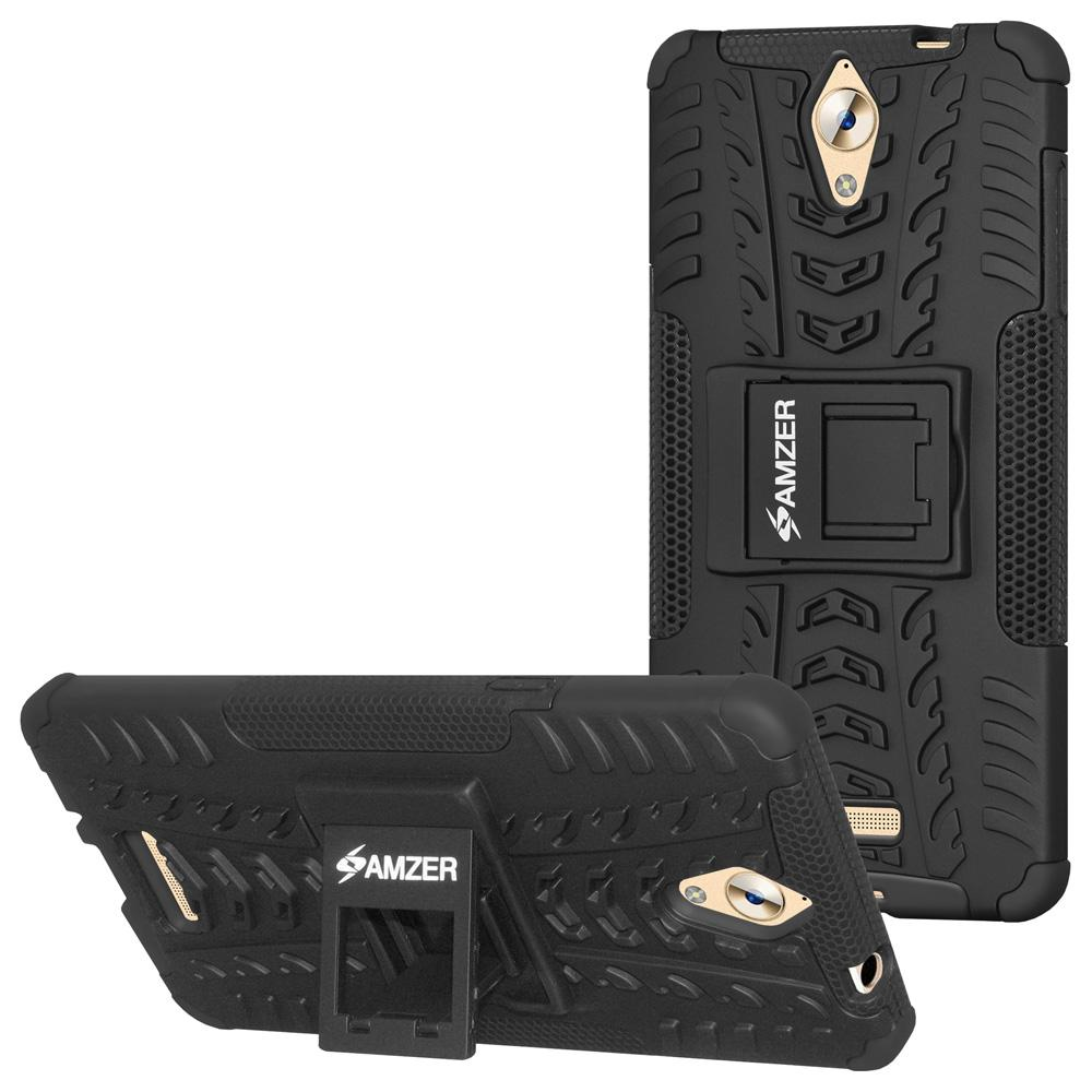 AMZER Hybrid Cover Warrior Case With Kickstand for Coolpad Mega - Black/Black